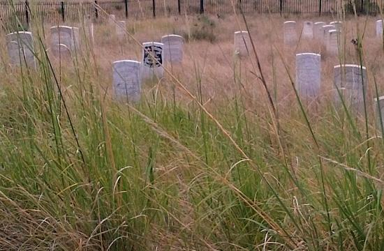 Crow Agency, MT: Custer's marker is black