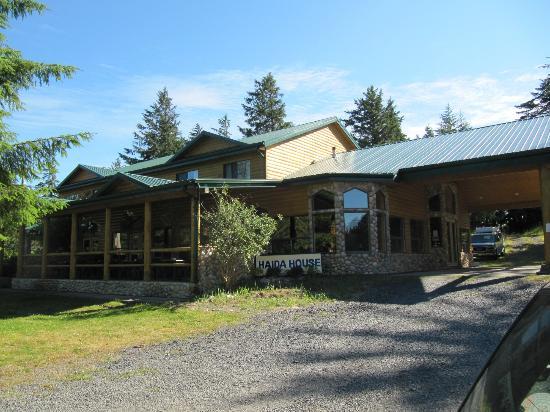 Haida House at Tllaal: lodge and patio facing river