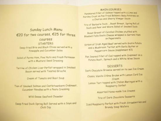 Wild Geese Restaurant: Sunday Lunch Menu