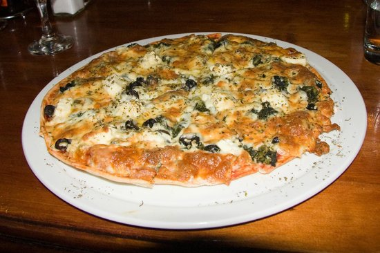 The Ocean Sizzler: Spinach, olive and feta pizza