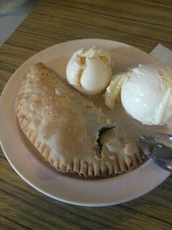 White Pig Inn Barbecue: Homemade Fried Chocolate Pie with homemade Vanilla Ice Cream