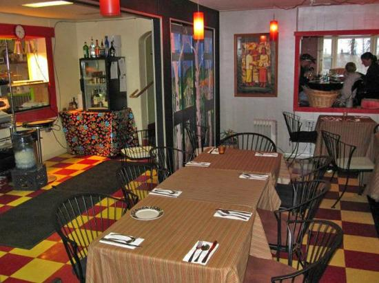 Sweet Pea Market and Restaurant : Inside he restaurant during the winter months.