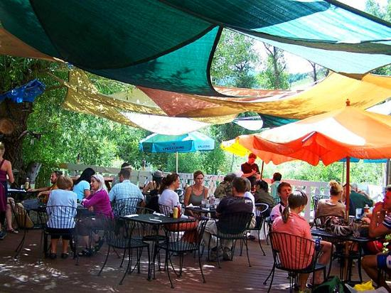 Sweet Pea Market and Restaurant : Beautiful outdoor patio by the Yampa River, under the shade of a gnarly old tree!