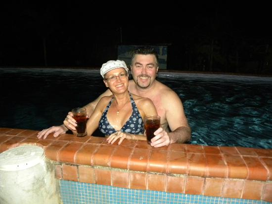 Pedasi Sports Club: me and tina having a late night swim with our rum and cokes