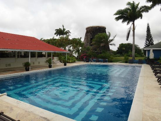 Montpelier Plantation & Beach: The pool and the old sugar mill