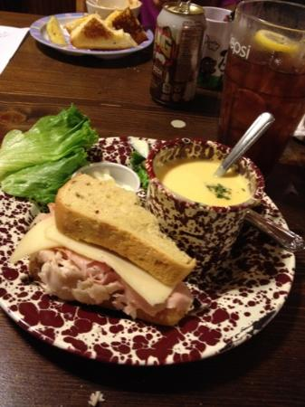 5th Avenue Sandwich Shop : Turkey Ham Pineapple on Jalepeno Bread with Beer Cheese Soup