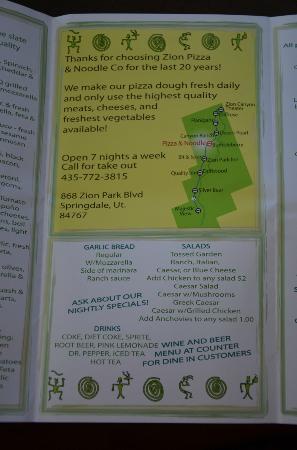 Zion Pizza & Noodle Co : Page 2 of menu & map (July 2012)