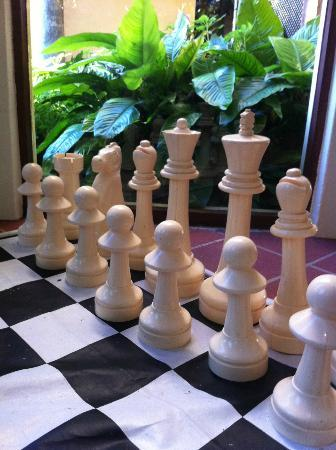 Maleny Hideaway: Giant chess set in games room