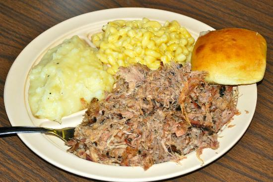 Bar-B-Q By Jim: Delicious BBQ Pork Plate w/ ok mac and cheese and mashed potatoes
