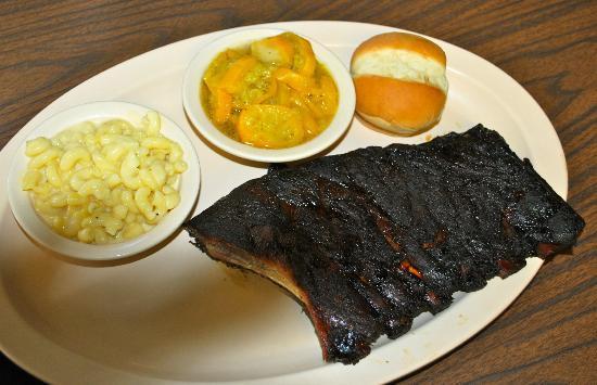 Bar-B-Q By Jim: Good BBQ ribs w/ ok mac & cheese and terrible squash