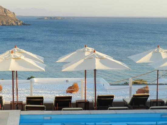 Lithos by Spyros & Flora: View from room - pool and lounge