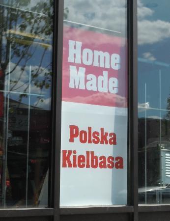 Golemo's Market : Home Made Kielbasa sign in window