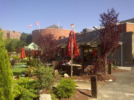 Exterior of Beechwood Hotel with outdoor patio dining area