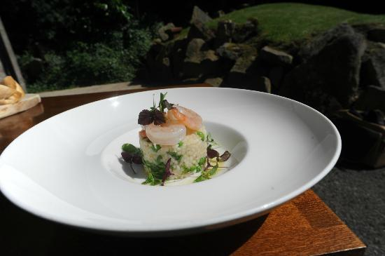 The Maynard: Pan Fried Garlic King Prawns, with Pea and Roquette Risotto (July 2012)