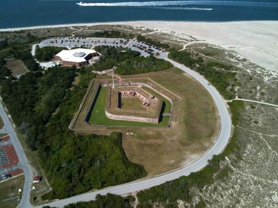 Crystal Coast Helicopters: Civil war era Fort Macon as seen from a CCH helitour flight.