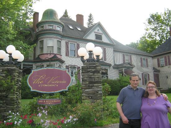 The Victoria Inn: My husband, and I, in front of the Inn