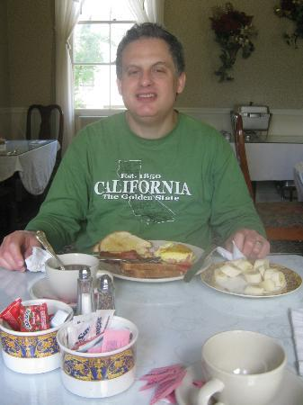 The Victoria Inn: my husband enjoying his breakfast made by Pat