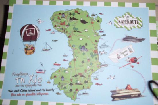 Map of Chios in soupla Picture of Kafekouti Lounge Cafe Chios