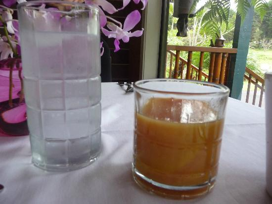 Waianuhea Bed & Breakfast: Breakfast: delicious fresh OJ with guava juice