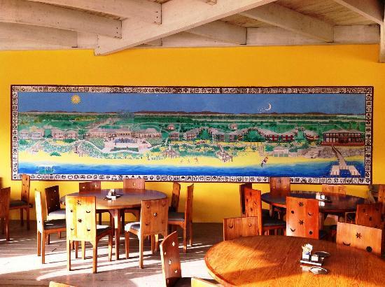 Club Med Columbus Isle : Murale che raffigura il club, nel ristorante