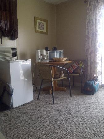 Boardwalk Motel: frosted over fridge; microwave appeared new