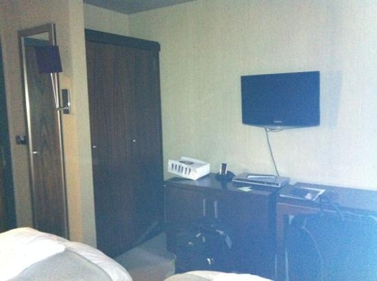 Rick's: each room also had a desk/dresser with hair straighteners! how wacky is that?
