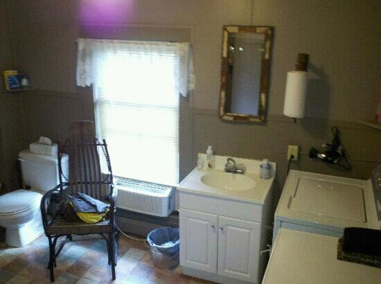 RoosterComb Inn: Bathroom with washer/dryer