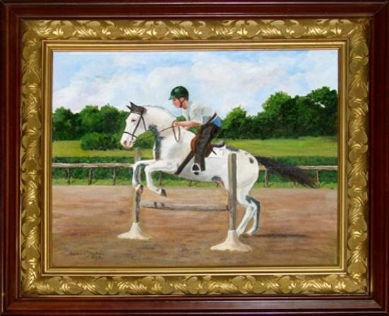 Barking Fox Farm Guest House: Painting of our son jumping on Glory Be
