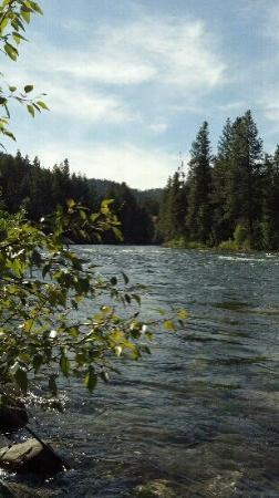 Wenatchee River viewed from the grounds at Natapoc Lodging.