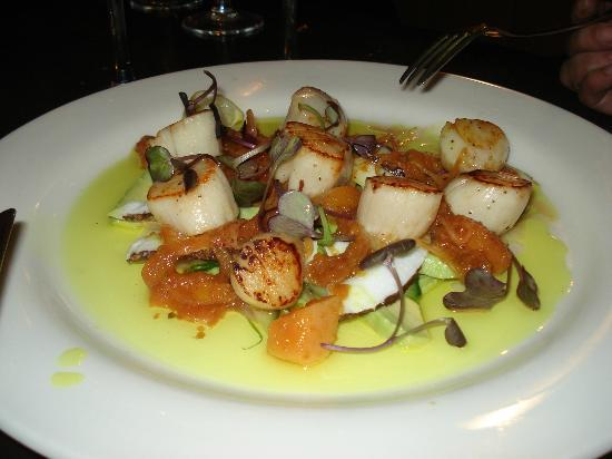 Quality Hotel Oceans Tutukaka: SEARED SCALLOPS with fresh coconut, cucumber and avocado salad, curried mango dressing