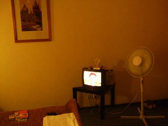 Pension Corto: Pic of our room with tv and fan