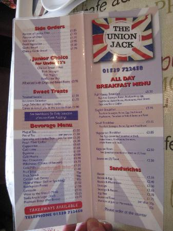 The Union Jack: Menu