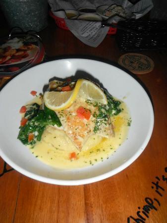 Bubba Gump Shrimp: lemon garlic barramundi