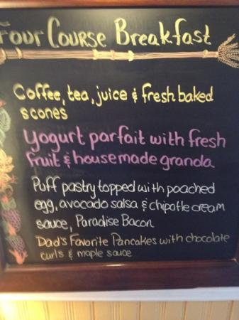 Foster Harris House B&B: breakfast menu