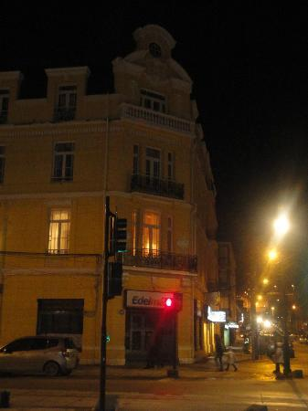 Hotel Plaza: Hotel exterior. Mine was the room on the corner with the balcony and the lights on