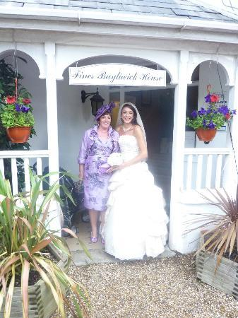 Fines Bayliwick House: Mum & I at the entrance of the hotel