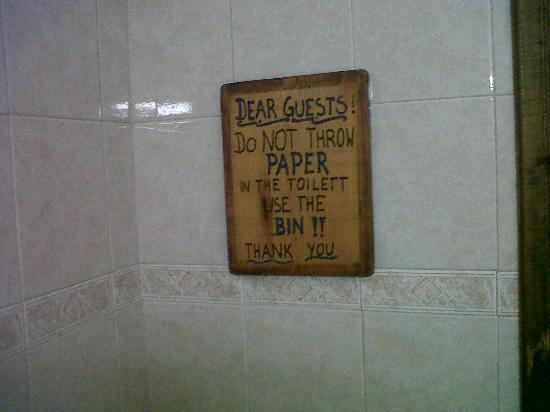 Hammock: instructions in clean toilet