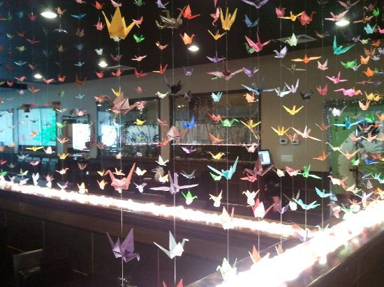 Aya Japanese Steakhouse: Oragami - over 1000 of them decorating the restaurant