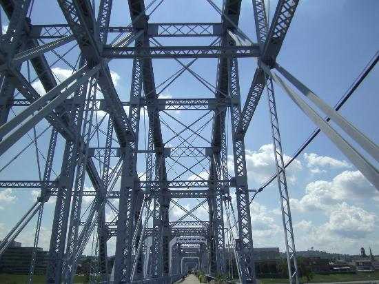 Roebling Suspension Bridge: View looking North on Ohio Side