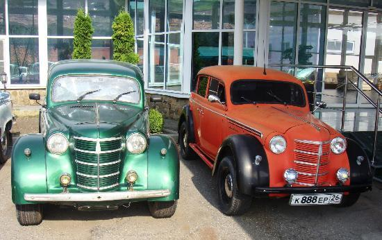 Khabez, Russia: Vintage car collection at the hotel