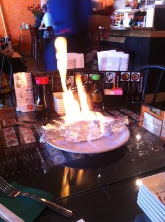 Sushi House: flaming volcano