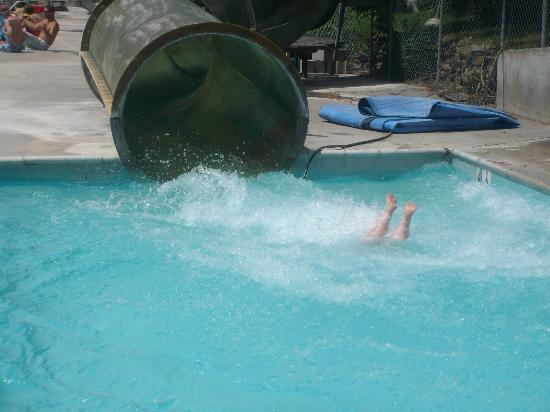 Me coming down the waterslide at Heise Hot Springs (feet first!)