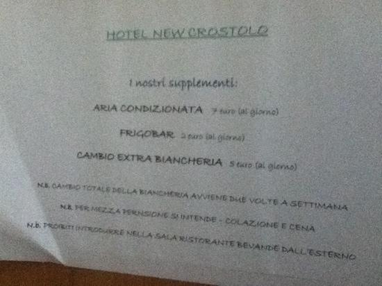 Hotel New Crostolo: supplementi new crostolo