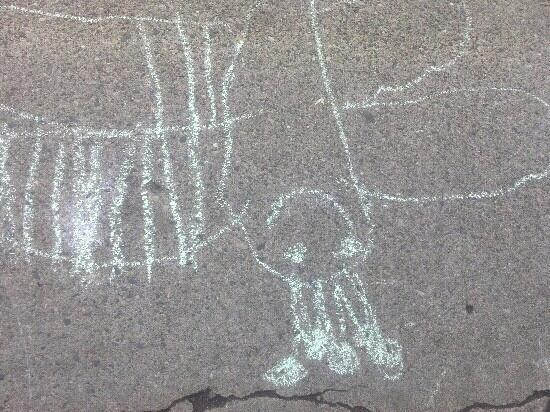 Zumbro Cafe: chalk drawing by benches