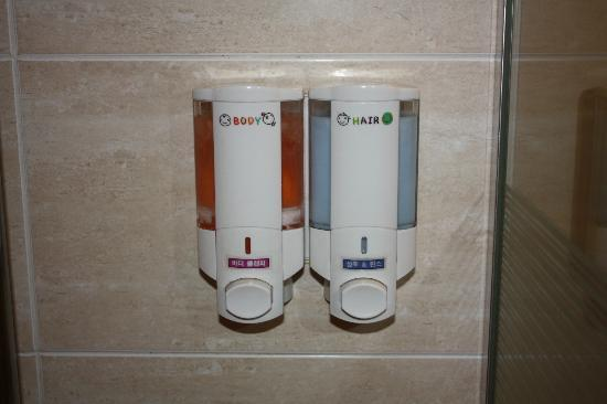 December Hotel Jeju: Dispensers in the shower