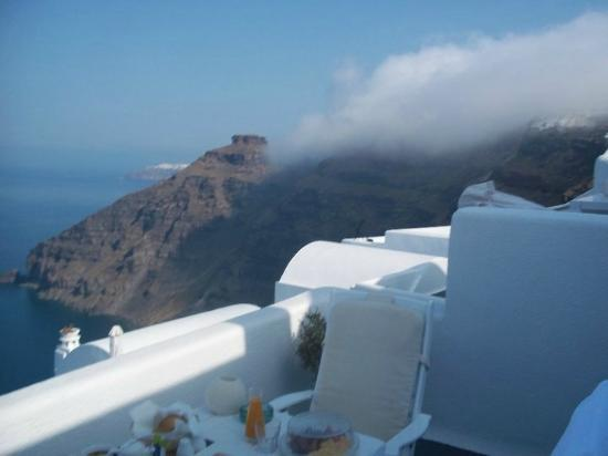 Homeric Poems: mist over Santorini during breakfast on our balcony