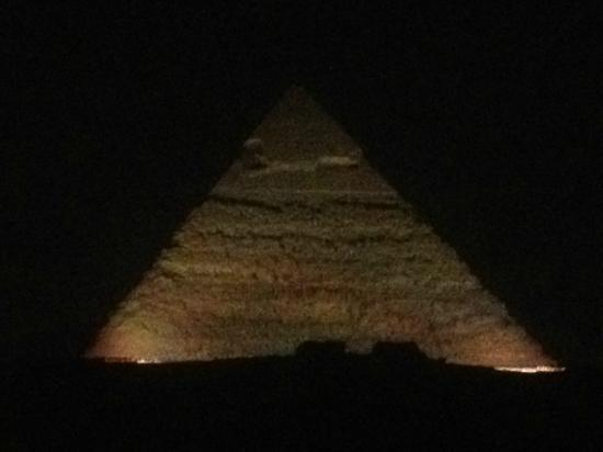 Pyramids View Inn: Lit at night - from the rooftop
