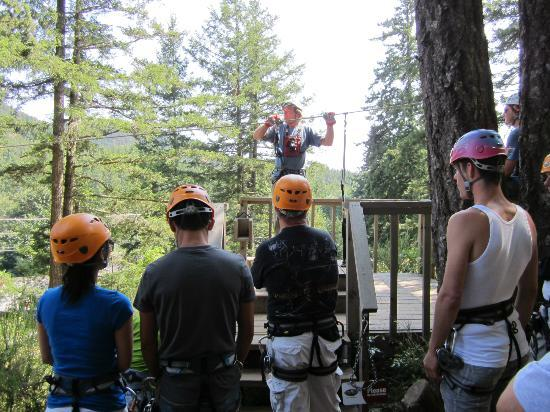 """Adrena LINE Zipline Adventure Tours: Our guides were great! Here we are learning how to zip on a """"baby zip"""" line first."""