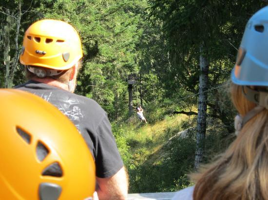 Adrena LINE Zipline Adventure Tours: The group waits on the platform as each person takes their turn across.