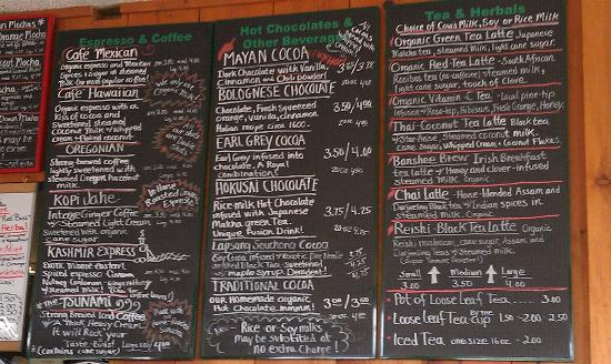 Green Salmon Coffee Shop: Partial menu